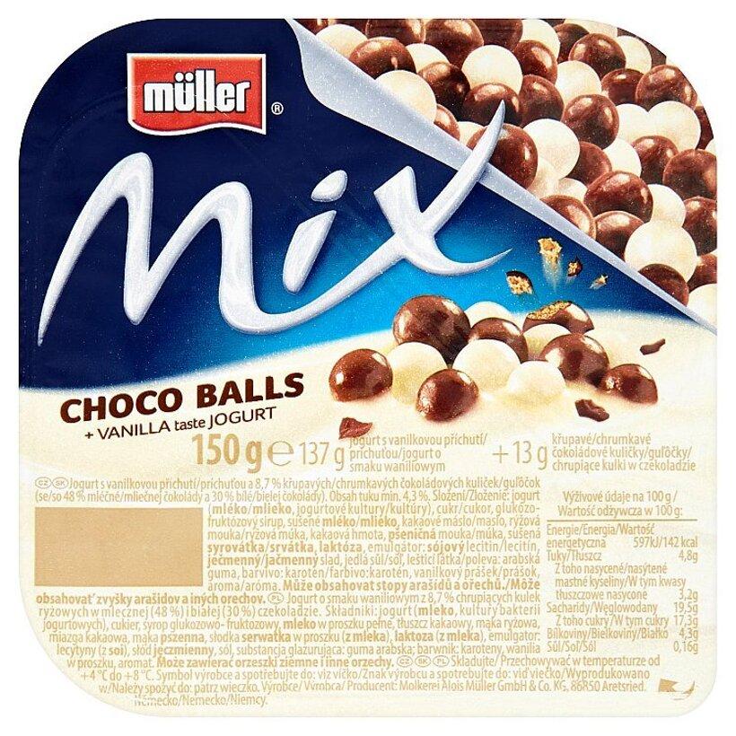 Müller Mix Choco Balls jogurt s vanilkovou príchuťou 150 g