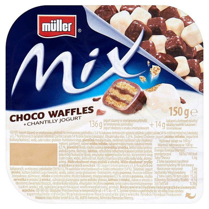 Müller Mix Choco Waffles jogurt sladený so smotanovou príchuťou 150 g