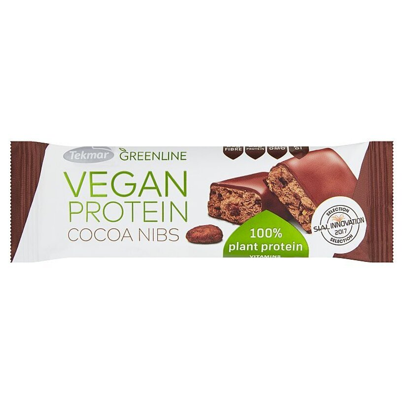 Tekmar Greenline Vegan Protein Cocoa Nibs proteínová tyčinka 40 g