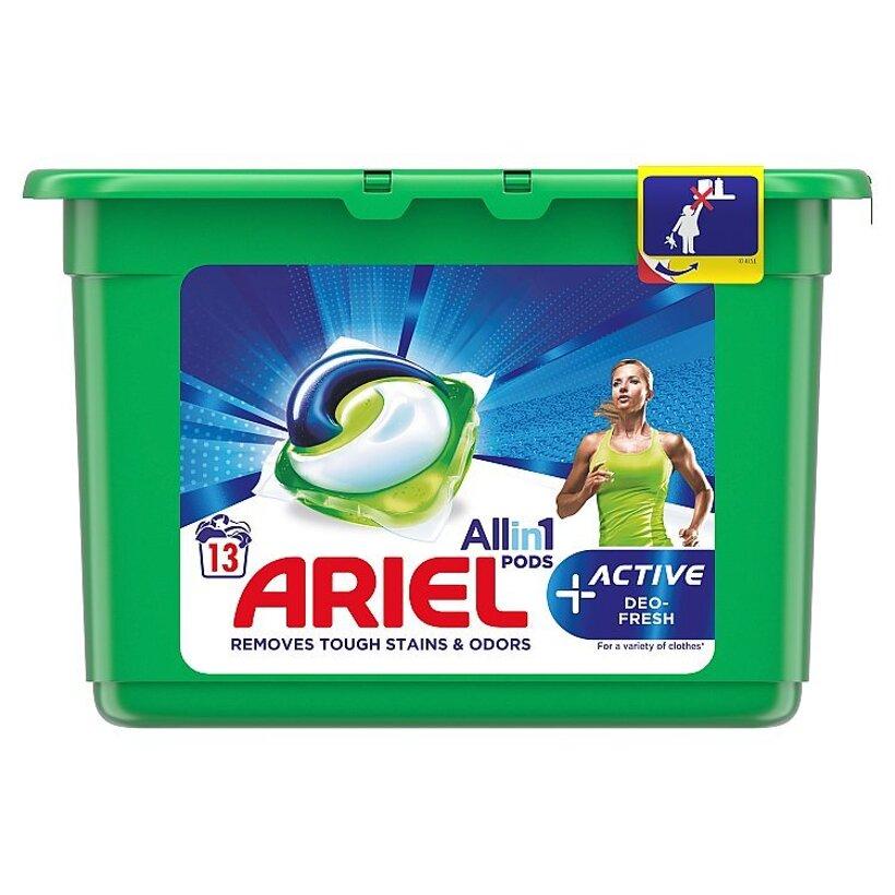 Ariel All In 1 Pods +Active Odor Defense Gélové Kapsuly Na Pranie, 13 Praní