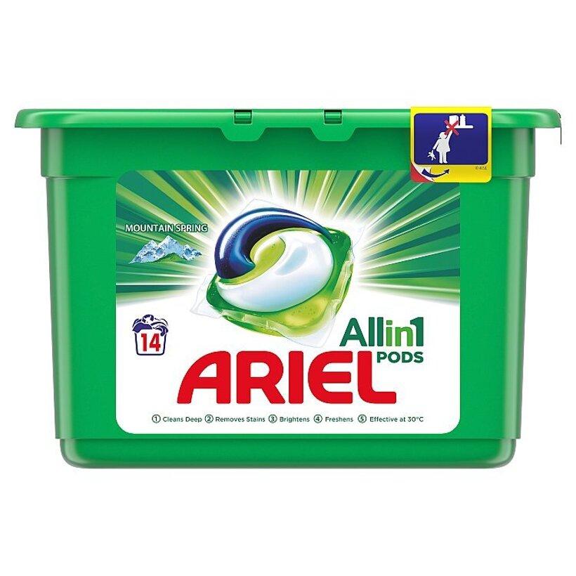Ariel All In 1 Pods Mountain Spring, Gélové Kapsuly Na Pranie, 14 Praní