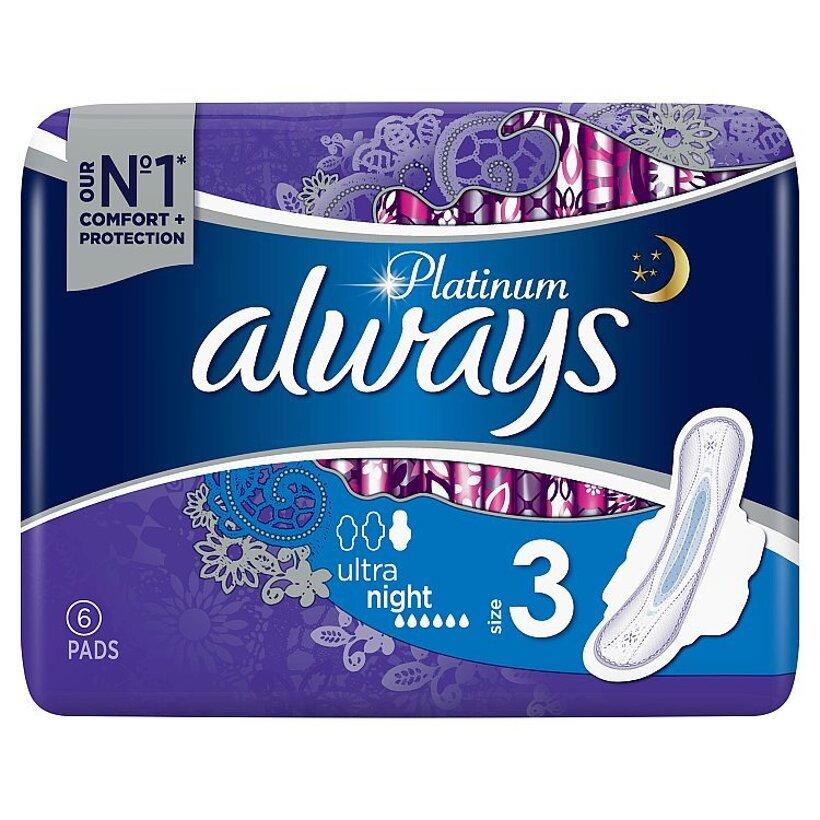 Always Platinum Night Menštruačné Vložky S Krídelkami (Veľkosť 3) 6 ks