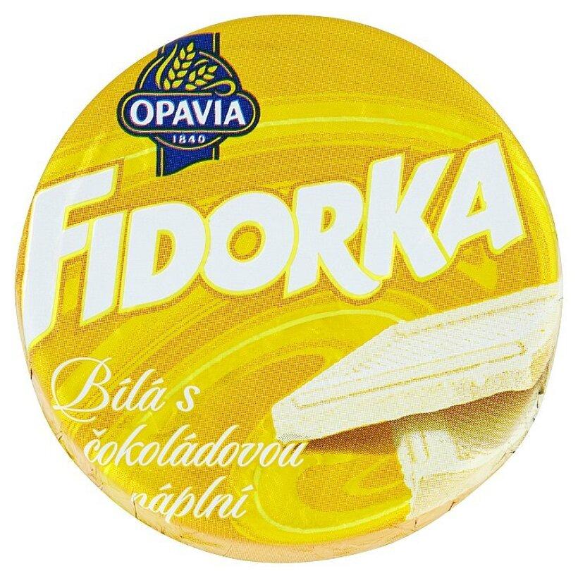 Opavia Fidorka Plnená oblátka s čokoládovou náplňou celomáčaná v bielej čokoláde 30 g