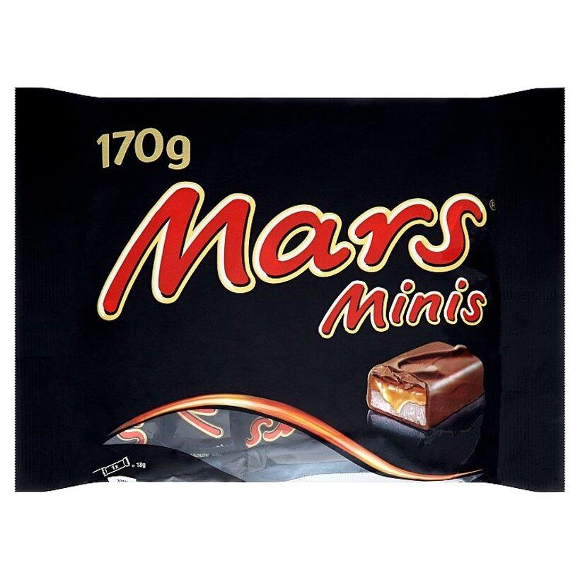 Mars Minis rodinné balenie čokoládových tyčiniek s nugátom a karamelom 170 g