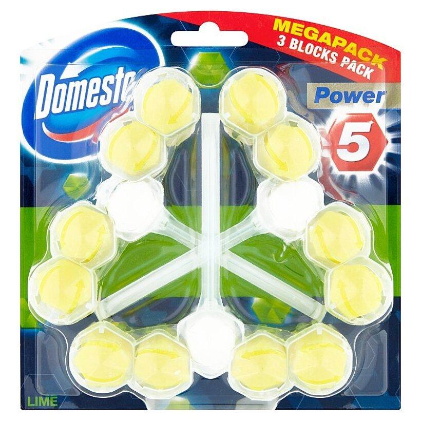 Domestos Power 5 Lime tuhý WC blok 3 x 55 g