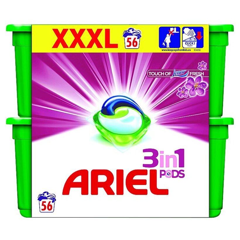 Ariel Touch Of Lenor Gélové Kapsuly Na Pranie Pre Hebkosť Bielizne Na 56 Praní