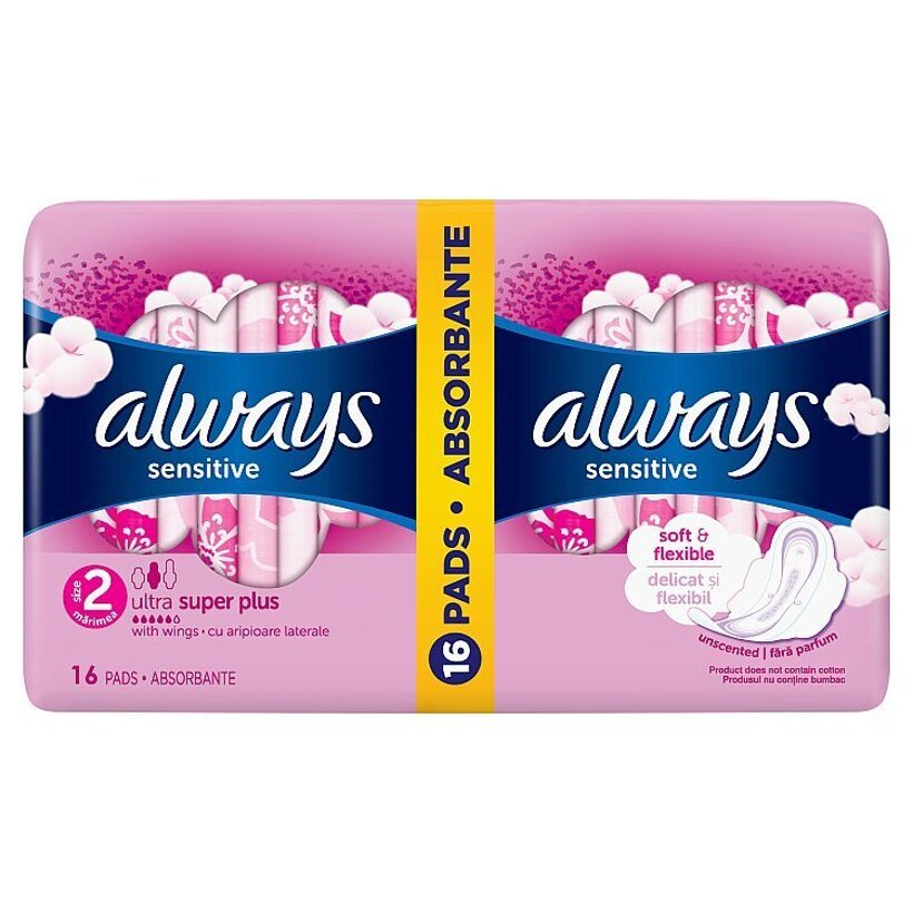 Always Ultra Sensitive Long (Veľkosť 2) Hygienické Vložky 16 ks