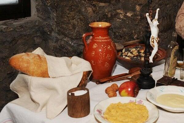 A traditional holiday season spread from Strečno in central Slovakia.