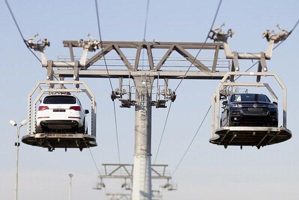 Moving cars at VW's plant in Bratislava.