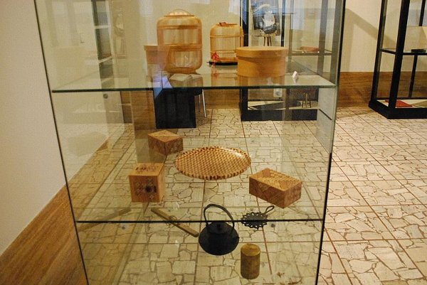 Japanese marquetry and cages.