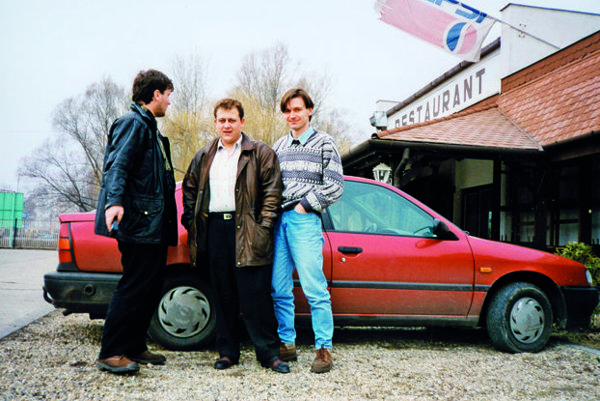 Róbert Remiáš, Oskar Fegyveres, and Peter Tóth (left to right) in Hungary where Fegyveres was hiding.