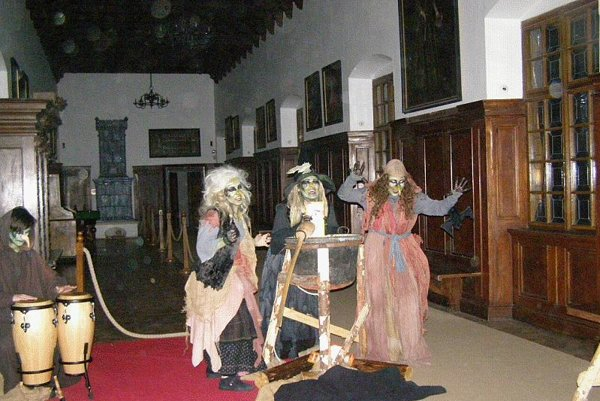 Witches welcome visitors to Bojnice Castle.