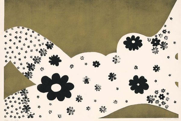 Jana Želibská: She (1967, print, golden pigment, paper).NoTouching exhibition, Slovak National Gallery.