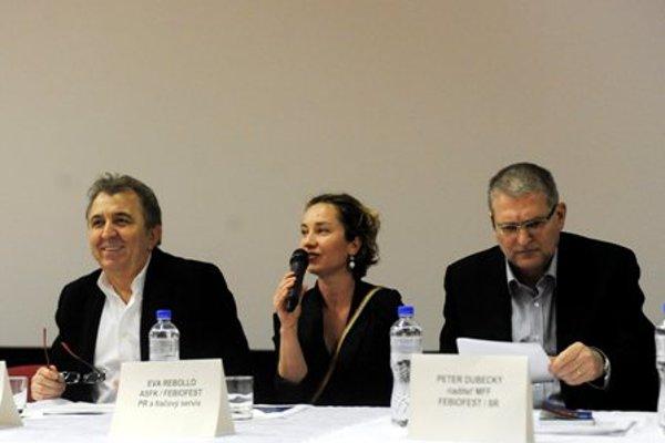 Press conference accompanying the Febiofest: F. Fenič, E. Rebollo and P. Dubecky (L-R).