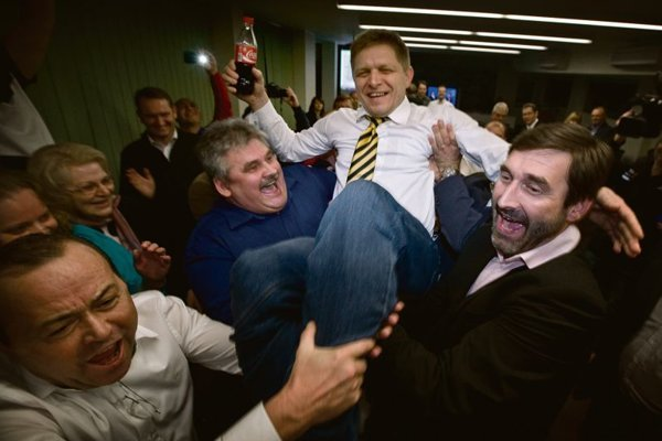 Robert Fico celebrating his election victory in March 2012.