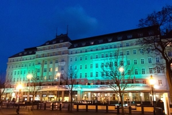 The Radisson Blu Carlton Hotel in Bratislava turned green on St Patrick's Day.