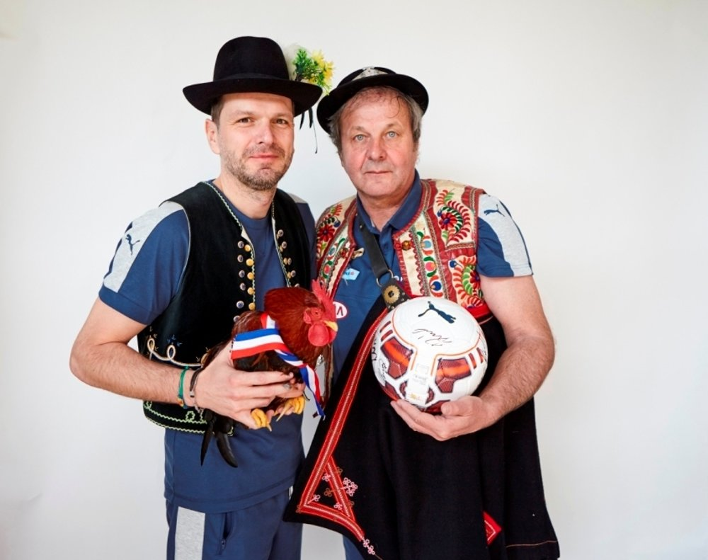 The coach of the national team Ján Kozák (right) and his assistant Štefan Tarkovič.