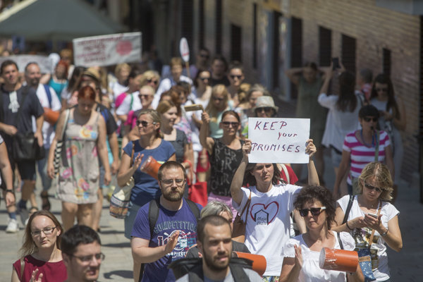 Teachers filled the streets during protests in 2016.