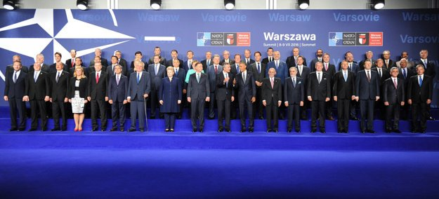 Participants of the NATO summit in Warsaw; Slovak President Andrej Kiska 5th L in bottom row.