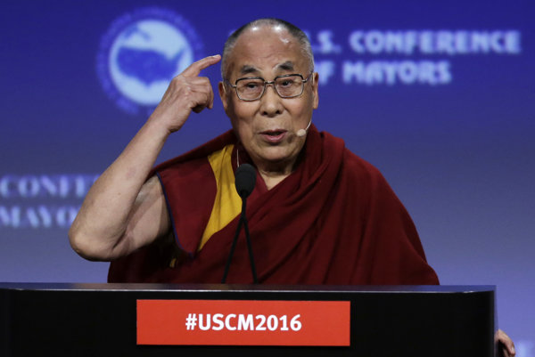 The Dalai Lama, speaking in Indianapolis, on June 26.