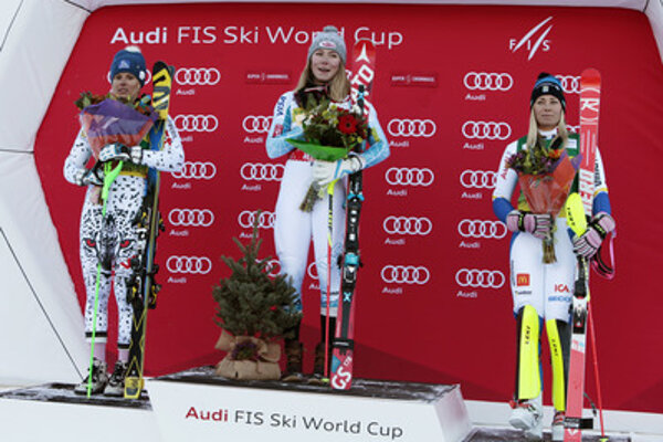 Slovak Veronika Velez Zuzulová (L), winner US Mikaela Shiffrin, and Swedish Frida Hansdotter on Novemebr 28, after World Cup slalom in Aspen.