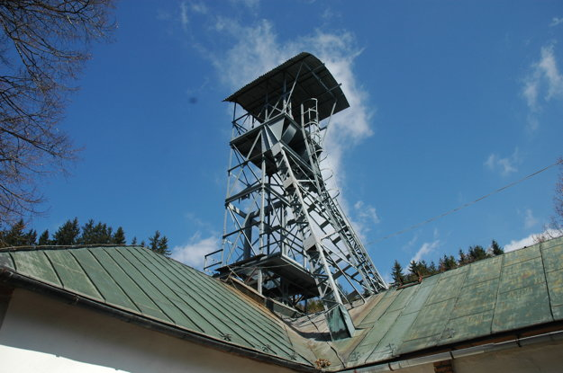 Head-frame in the open-air mining museum in Banská Štiavnica.