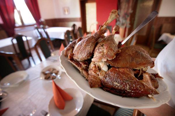 Goose is popular meat in Slovenský Grob, illustrative stock photo.