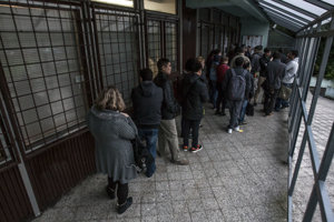 Queue in front of the foreigners' police department in Bratislava.