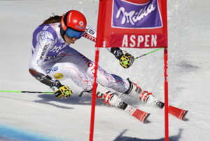 Vlhová races down the piste in Aspen.