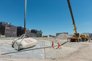 Laying of the 600kg foundation stone of the Sky Park project by Zaha Hadid.