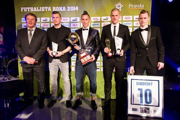 Kozák, Ďurica, Hamšík, Škrtel, Duda (L-R) at the Footballer of the Year 2015 awards