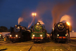 The historical steam engine 475.196 dubbed Her Ladyship (r) with two other vintage engines when presented during the reunion in 2005.