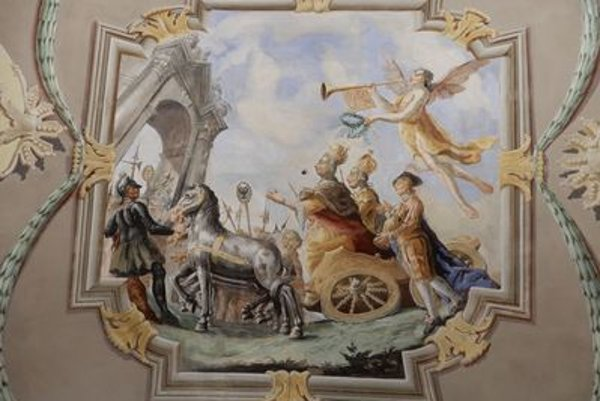 The triumphant parade in the painted maria Theresa room in Drugeth manor-house in Humenné.