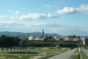 The view from Belvedere palace in Vienna with Wienerwald in the background.