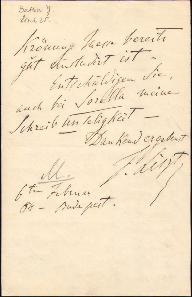 The letter Franz Liszt wrote to Ján Batka