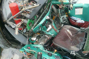 The inside of the crashed plane...