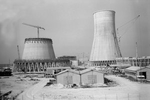 Building of cooling towers of V1 nuclear power plant in Jaslovské Bohunice.
