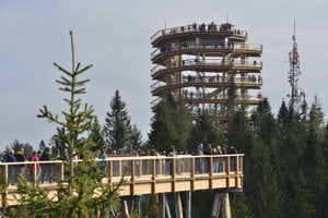 The path in tree-tops and the observation tower in Bachledova Dolina valley.