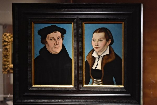 Portrait of Martin Luther and Katharina Von Bora by Lucas Cranach the Elder, is on display as part of the exhibition on Reformation at the Uffizi Gallery in Florence, Italy.