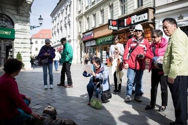 Asian tourists in Bratislava