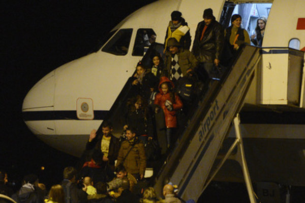 Assyrian Christians from Iraq arrive at the Košice airport.