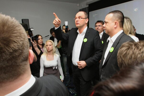 Sulík (L) and Miškov as party colleagues, before they became rivals