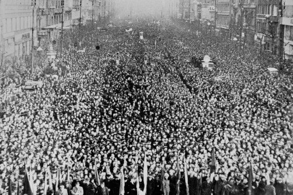 Demonstration in Prague, Wenceslas' Square, on February 28, 1948.