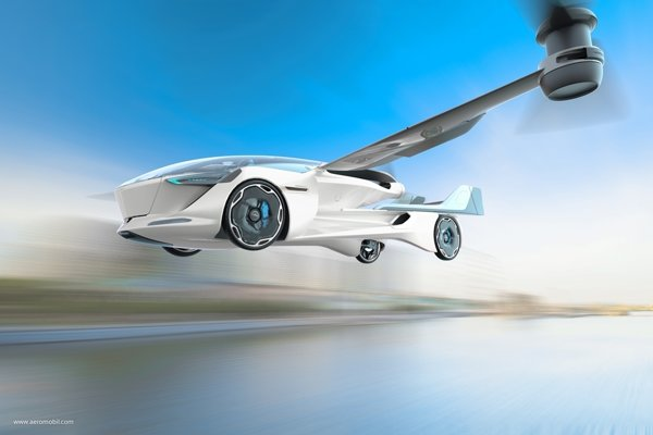 AeroMobil 5.0 VTOL concept - drone configuration in flight