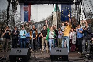 Speakers at the April 15, 2018 protest in Bratislava