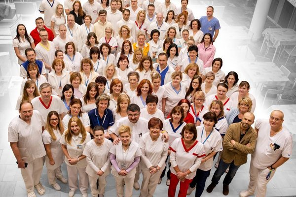 Workers of the FD Roosevelt Faculty Hospital in Banská Bystrica, one of the largest health care facilities in Slovakia