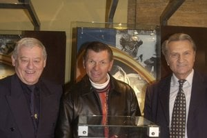 Mostfamous Slovak hockey expat Stan Mikita on December 4, 2004, in the Slovak Ice-hockey Hall of Fame in Slovak National Museum, Bratislava - with his Slovak hockey contmeporiaies Jozef Golonka (L), and Ján Starší.