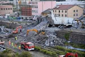 The collapsed bridge in Genoa