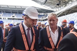 The construction of National Football Stadium in Bratislava, September 4: L-R PM Peter Pellegrini, investor Ivan Kmotrík.
