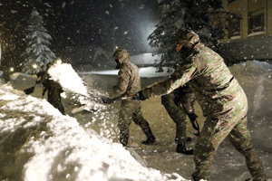 Soldiers helping remove snow in northern Slovakia.